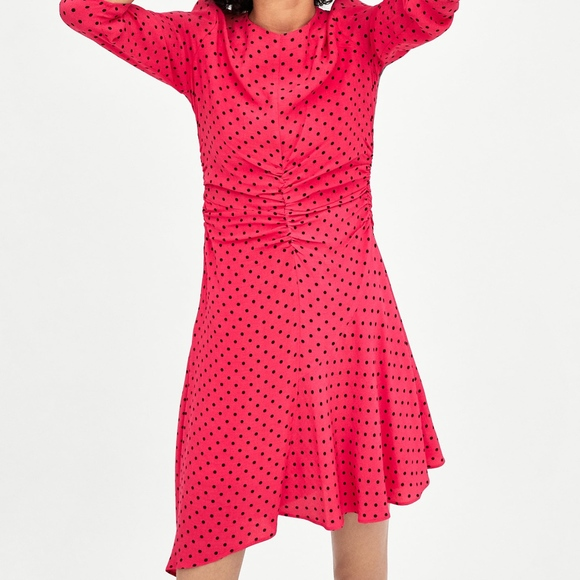 Zara Dresses & Skirts - Zara GATHERED POLKA DOT DRESS Pink Fuchsia Ruched